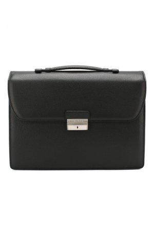Кожаный портфель Canali. Цвет: чёрный