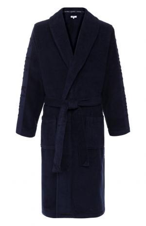 Хлопковый халат с поясом и шалевым воротником Calvin Klein. Цвет: синий