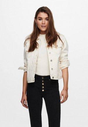 Куртка джинсовая Only. Цвет: бежевый