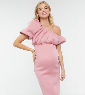 Эксклюзивное розовое платье миди для беременных на одно плечо с юбкой-карандашом ASOS DESIGN Maternity-Розовый Maternity