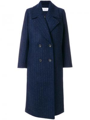 Пальто свободного кроя в полоску Libertine-Libertine. Цвет: синий