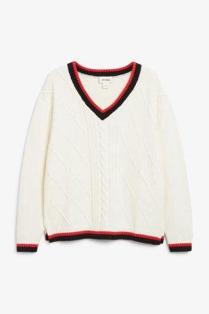 Cable knit sweater Monki. Цвет: белый, разноцветный