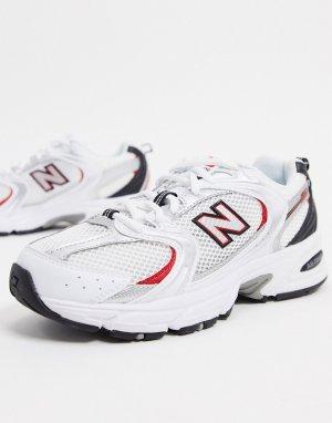 Белые кроссовки с серебристыми и красными вставками 530-Белый New Balance