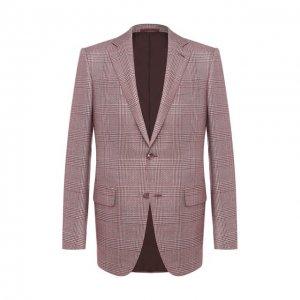 Пиджак из смеси шелка и шерсти Ermenegildo Zegna. Цвет: бордовый