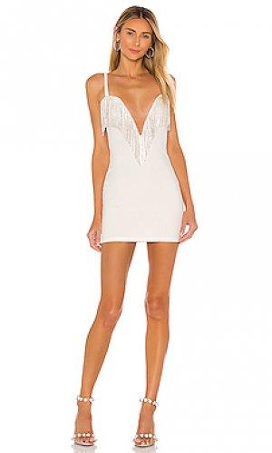 Платье с бахромой со стразами katey superdown. Цвет: белый