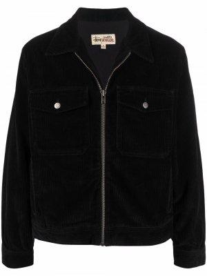 Вельветовая куртка на молнии Stussy. Цвет: черный