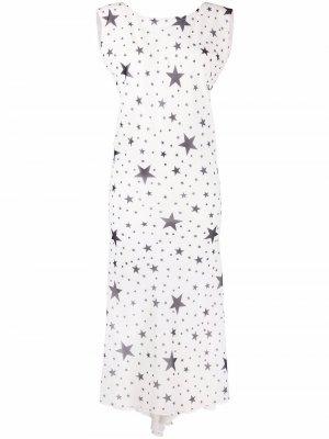 Star print boat neck dress Parlor. Цвет: белый