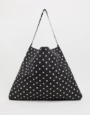 Черная пляжная сумка-тоут в горошек -Мульти Vero Moda