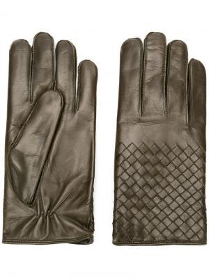 Перчатки с плетением intrecciato Bottega Veneta. Цвет: зеленый