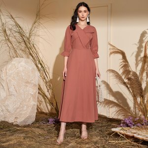 Однотонное длинное платье SHEIN. Цвет: цвет красного дерева