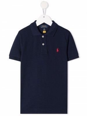 Рубашка поло с вышитым логотипом Ralph Lauren Kids. Цвет: синий