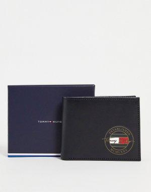 Маленький черный кожаный бумажник с логотипом подписью -Черный цвет Tommy Hilfiger