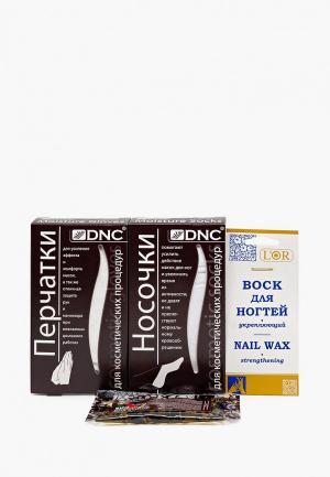 Набор для ухода за телом DNC Перчатки, Носочки, LOr Воск ногтей питательный 5 мл и подарок Масло волос 15. Цвет: прозрачный