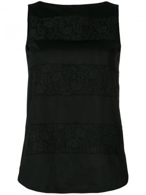 Блузка с кружевными вставками Les Copains. Цвет: черный
