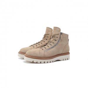 Замшевые ботинки W.Gibbs. Цвет: бежевый