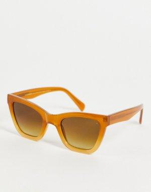 Коричневые солнцезащитные oversized-очки «кошачий глаз» в стиле унисекс Big Kanye-Коричневый цвет A.Kjaerbede
