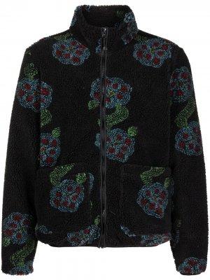 Куртка из искусственной овчины с цветочным принтом Stussy. Цвет: черный