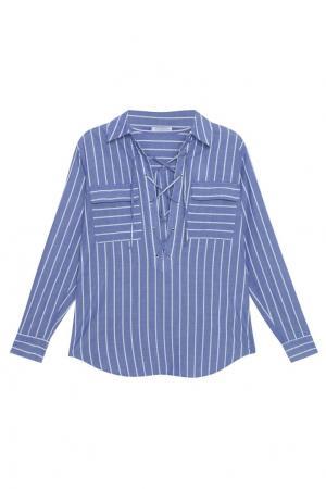 Хлопковая блузка Equipment Femme. Цвет: синий