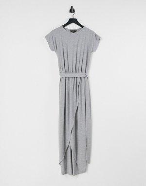 Платье-футболка макси с запахом -Серый Lipsy