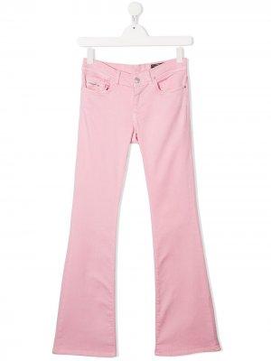 Расклешенные брюки с заниженной талией Diesel Kids. Цвет: розовый