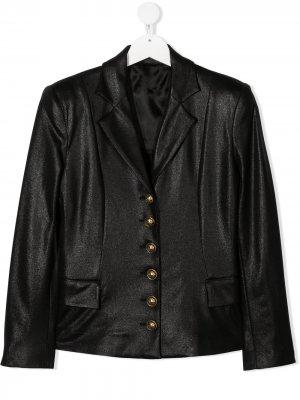 Однобортный пиджак Balmain Kids. Цвет: черный