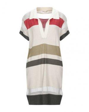Короткое платье HAUTE HIPPIE. Цвет: бежевый