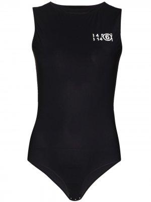 Боди без рукавов с логотипом MM6 Maison Margiela. Цвет: черный