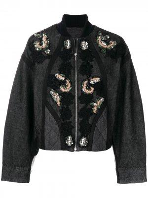 Куртка с цветочной вышивкой и пайетками Antonio Marras. Цвет: серый