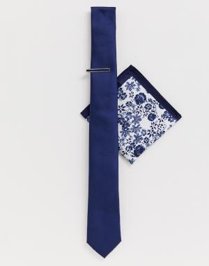 Темно-синий галстук с зажимом и платок для пиджака Moss London BROS