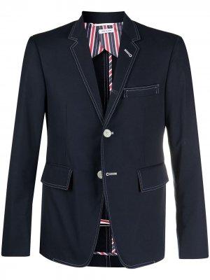 Однобортный пиджак Thom Browne. Цвет: синий