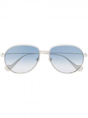 Солнцезащитные очки-авиаторы Moncler Eyewear. Цвет: серебристый