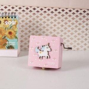 Музыкальная шкатулка с декором единорога SHEIN. Цвет: розовые