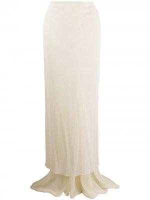 Прозрачная юбка макси 2000-х годов Romeo Gigli Pre-Owned. Цвет: нейтральные цвета