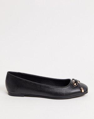 Черные балетки с крокодиловым рисунком -Черный цвет Dune