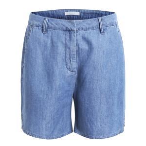 Шорты лёгкие под джинсу, закруглённые прорези по бокам VILA. Цвет: синий деним