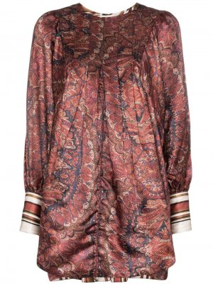Атласное платье мини Vintage с узором пейсли byTiMo