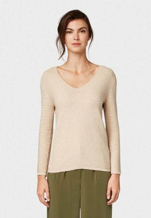 Пуловер Tom Tailor. Цвет: бежевый