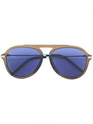 Солнцезащитные очки-авиаторы в толстой оправе Fendi Eyewear. Цвет: зеленый