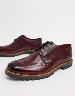 Кожаные бордовые туфли на шнуровке -Красный Base London