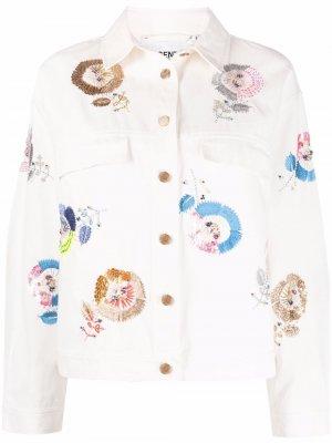 Джинсовая куртка с вышивкой Essentiel Antwerp. Цвет: белый