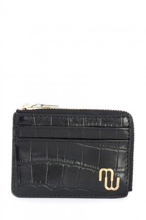 Черный кожаный кошелек Maje. Цвет: черный