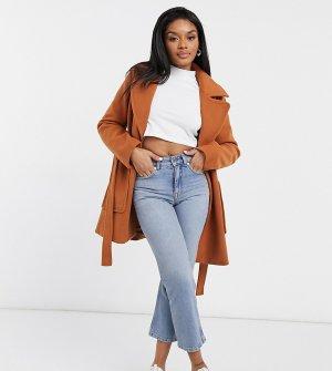 Пальто с запахом и поясом -Коричневый Fashion Union Petite