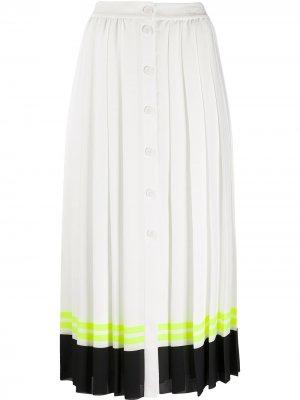 Плиссированная юбка в полоску Karl Lagerfeld. Цвет: белый