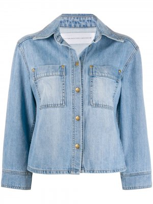 Джинсовая куртка с укороченными рукавами Victoria Beckham. Цвет: синий