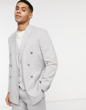 Серый узкий двубортный пиджак Topman