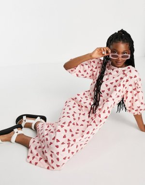 Розовое платье миди с принтом грибов Yoyo-Розовый цвет Monki