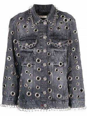 Джинсовая куртка с металлическим декором Philipp Plein. Цвет: серый