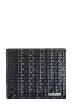 Кожаное портмоне с фирменным декором в технике горячего тиснения SERAPIAN. Цвет: черный
