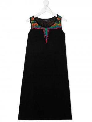Платье без рукавов с графичным принтом Marcelo Burlon County Of Milan Kids. Цвет: черный
