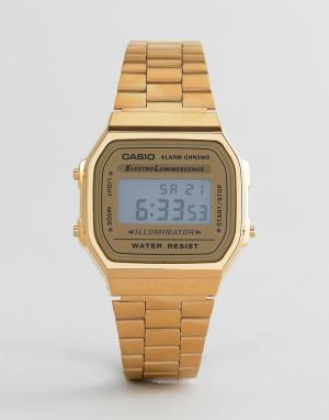 Золотистые цифровые часы A168WG-9EF-Золотой Casio